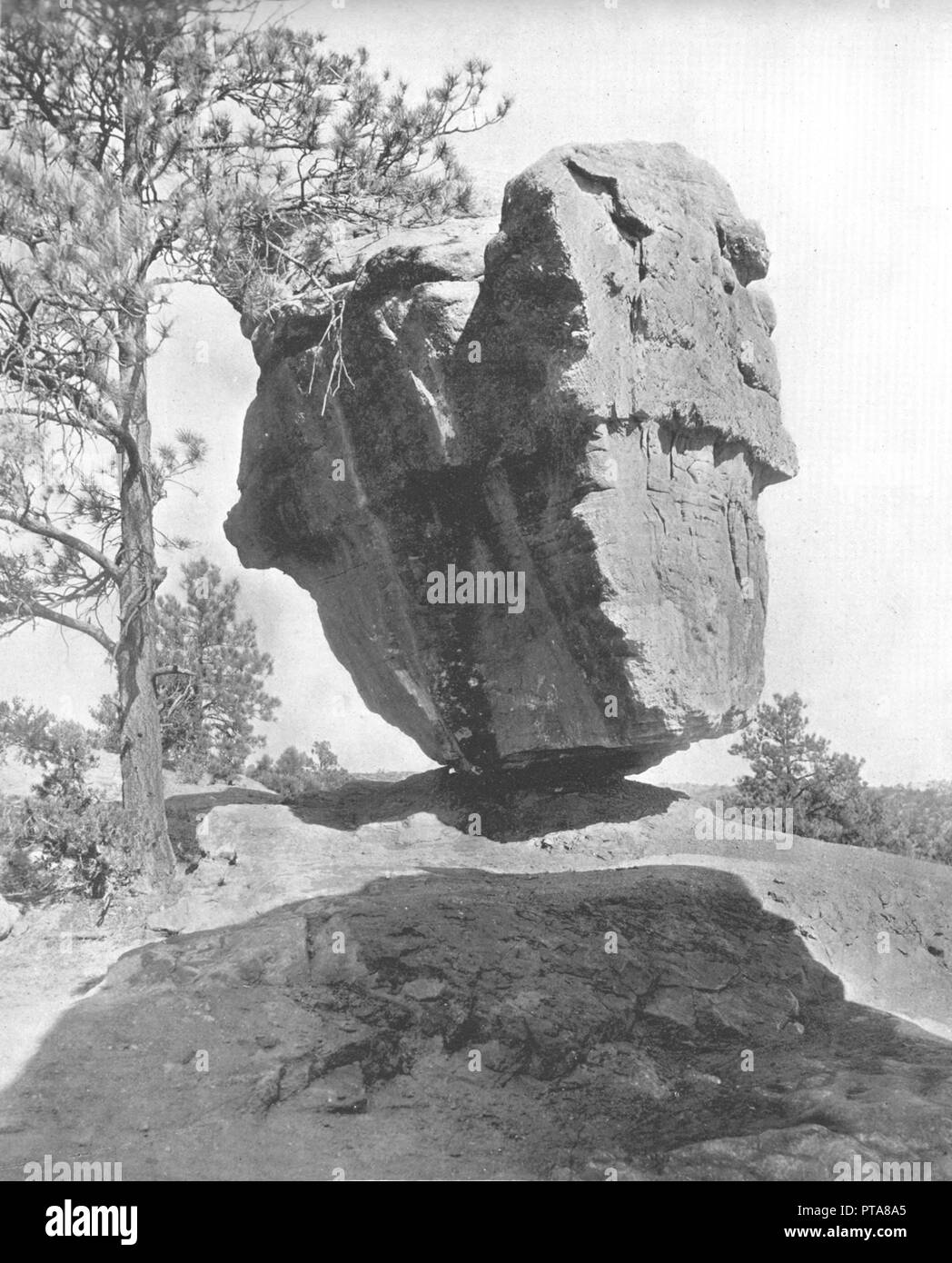 Balanced Rock, Garden of the Gods, Colorado, USA, c1900. Rock formation caused by erosion over millions of years. From Scenic Marvels of the New World edited by Prof. Geo.R. Cromwell. [C.N.Greig & Co., c1900] - Stock Image