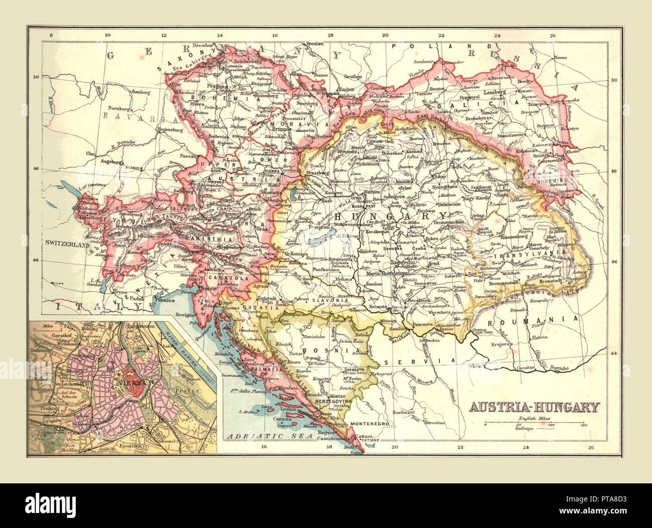 Map of Austria-Hungary, 1902. The Austro-Hungarian Empire including Bosnia, Transylvania, Bohemia, Dalmatia, Silesia, with inset of Vienna. From The Century Atlas of the World. [John Walker & Co, Ltd., London, 1902] - Stock Image