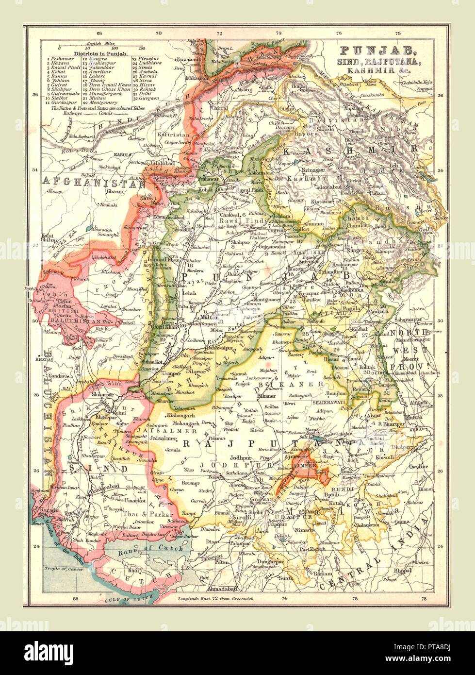 Punjab World Map.Map Of Punjab Sind Rajputana And Kashmir 1902 From The Century