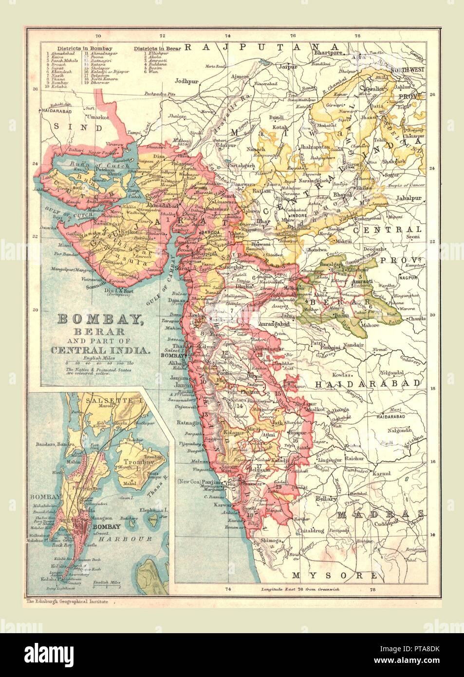 Map Of Bombay Berar And Part Of Central India 1902 From The