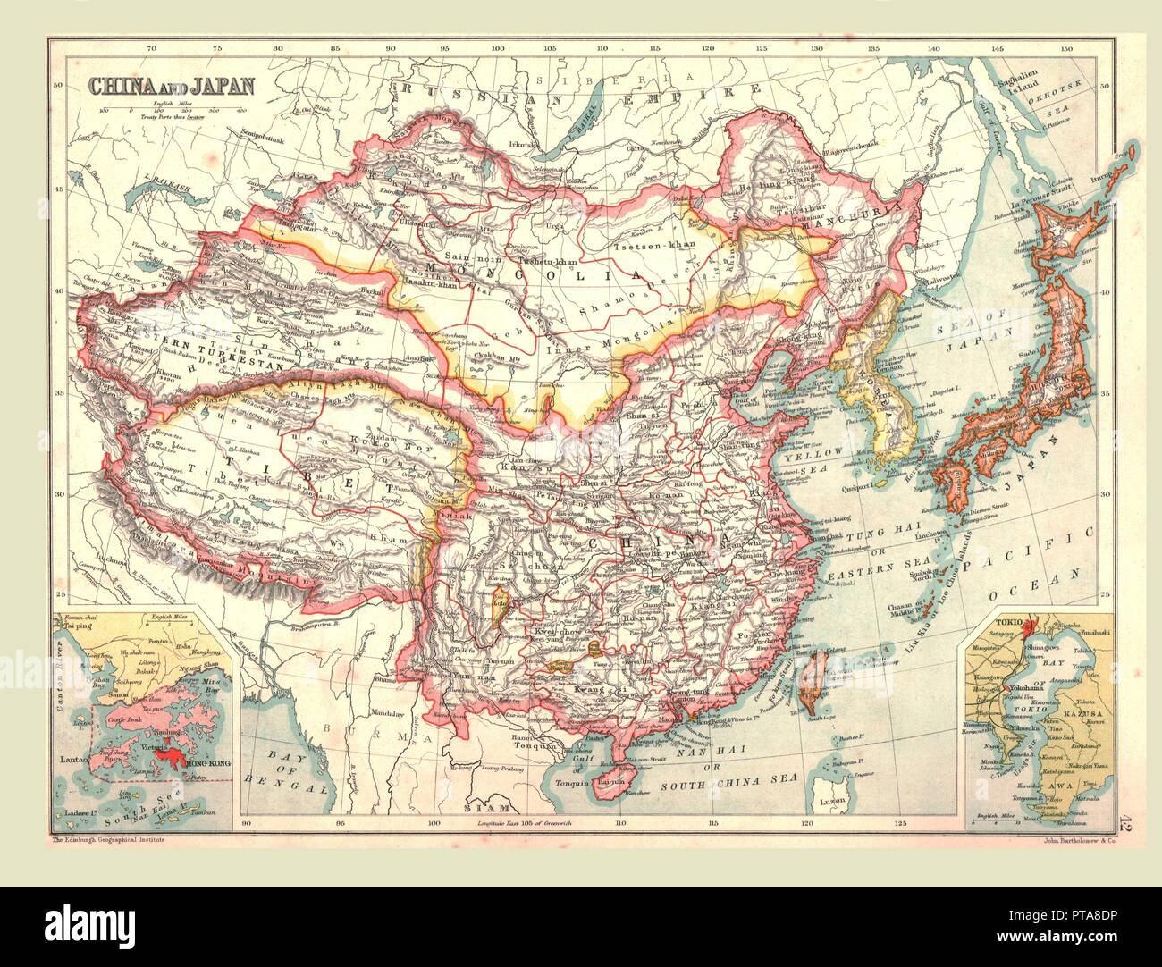 Map of China and Japan, 1902. Showing Mongolia, Eastern Turkestan and Tibet, with insets of Hong Kong and Tokyo Bay. From The Century Atlas of the World. [John Walker & Co, Ltd., London, 1902] - Stock Image