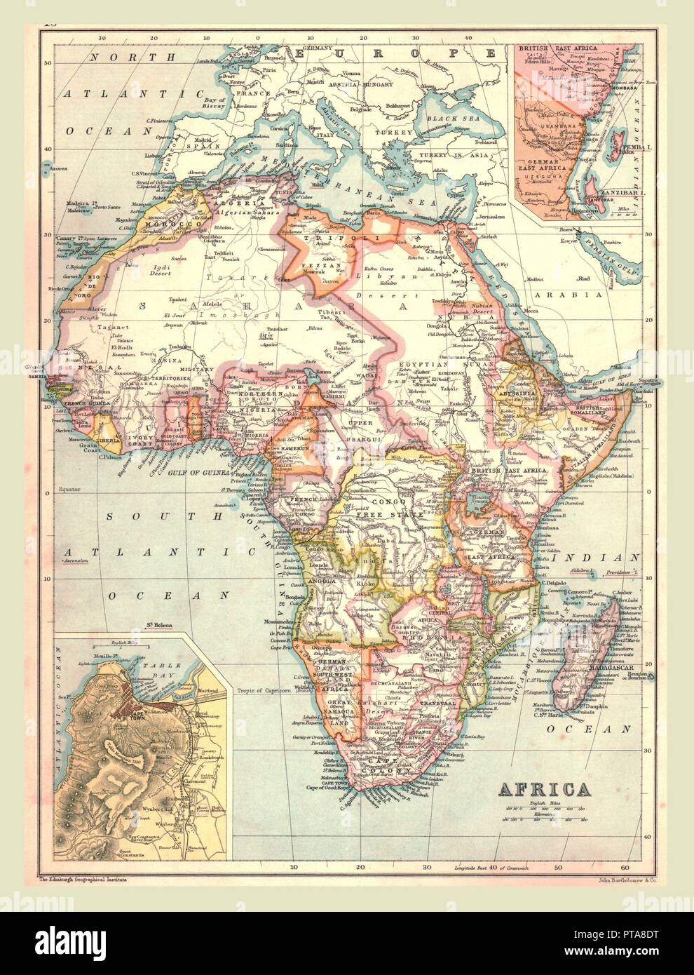 Map of Africa, 1902. Showing colonial possessions including French West Africa and German South West Africa, with insets of Table Bay in South Africa, and British and German East Africa. From The Century Atlas of the World. [John Walker & Co, Ltd., London, 1902] - Stock Image