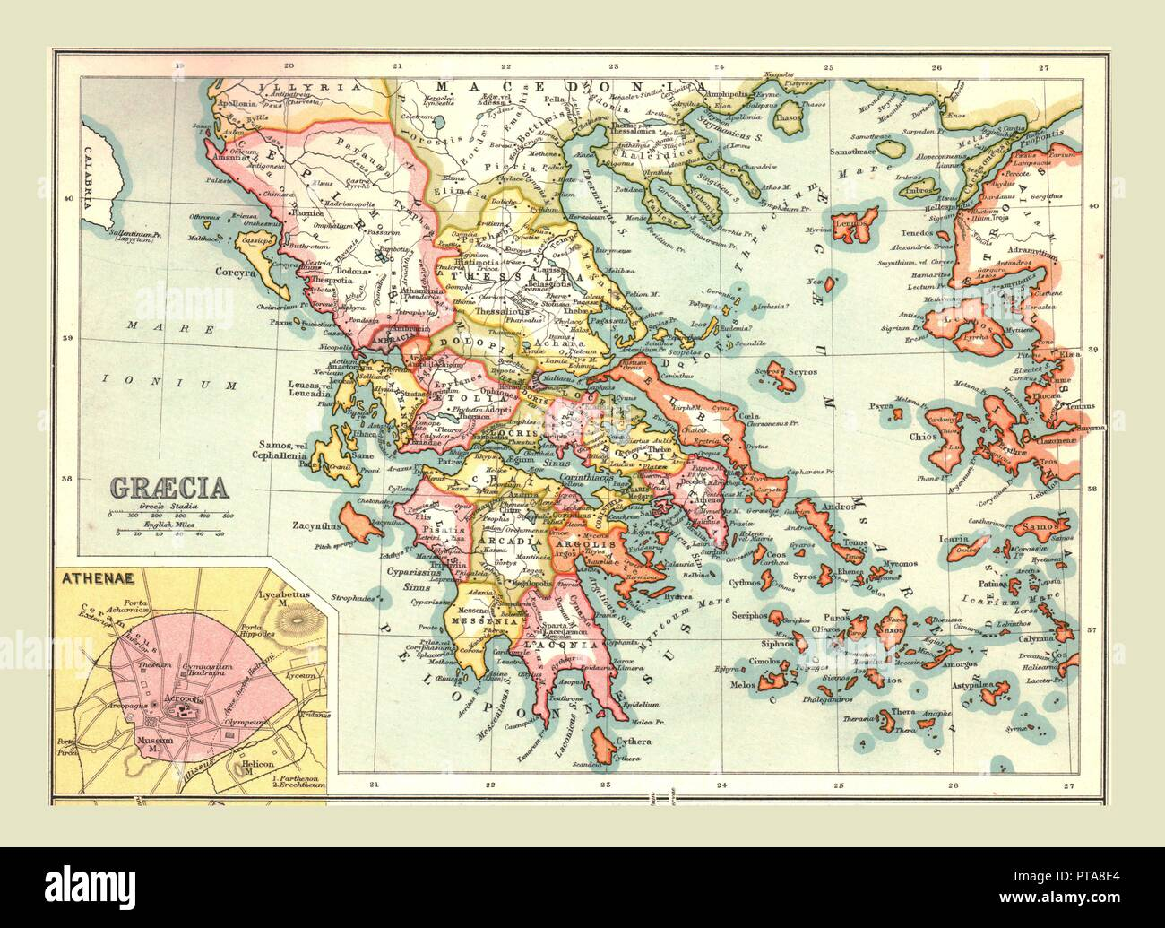 Map Of Graecia 1902 The Provinces Of Ancient Greece With