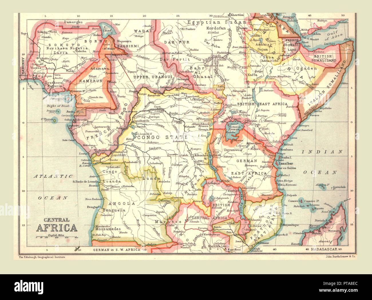 Map of Central Africa, 1902. Showing colonial possessions including Italian Somaliland, Portuguese East Africa, German East Africa, British Central Africa and French Congo From The Century Atlas of the World. [John Walker & Co, Ltd., London, 1902] - Stock Image