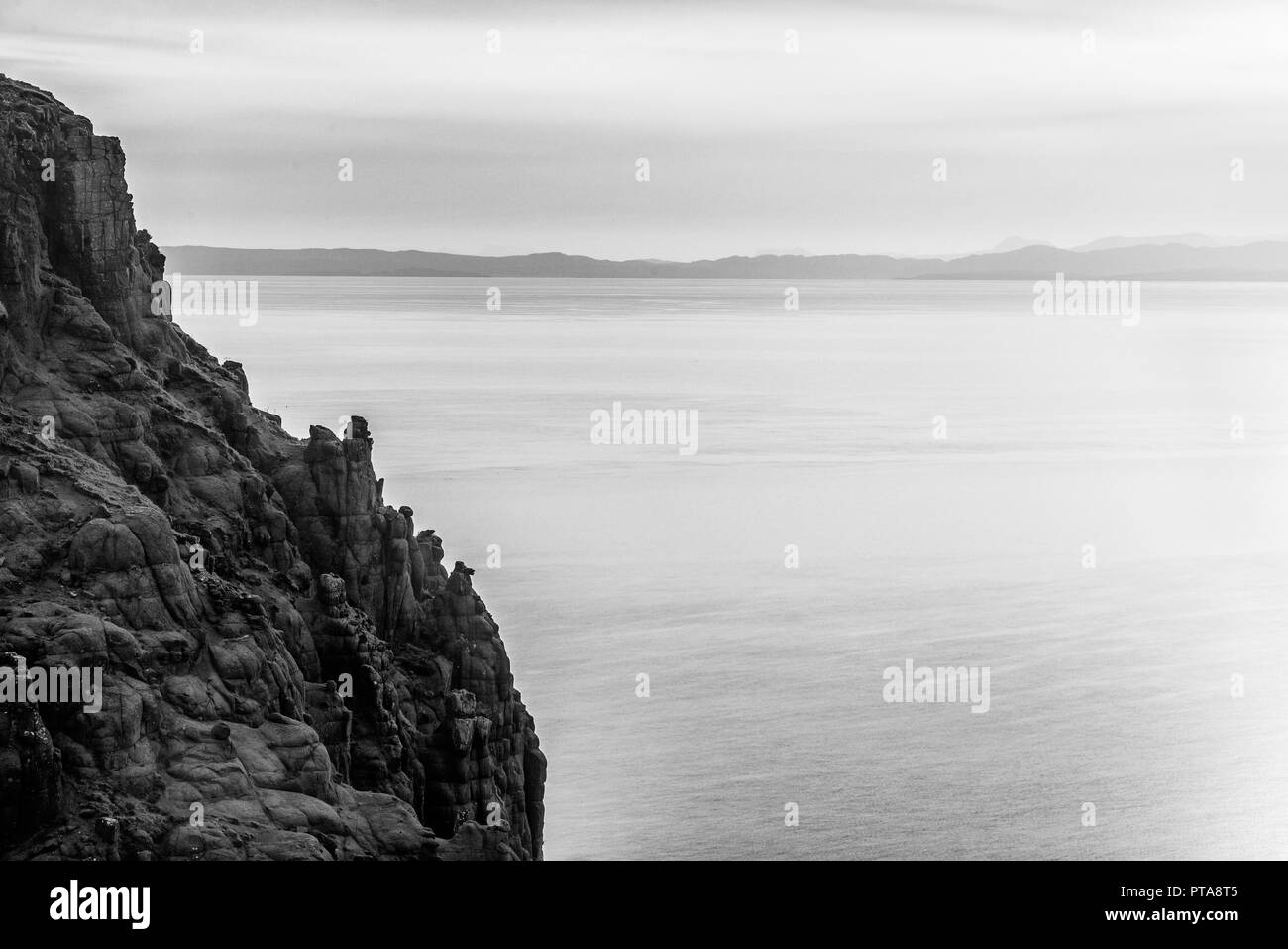 landscape over the isle of skye at Lealt waterfall viewpoint - Stock Image