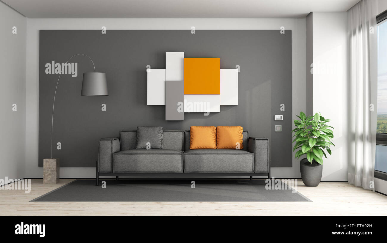Gray And Orange Living Room With Fabric Sofa 3d Renderig Stock Photo Alamy