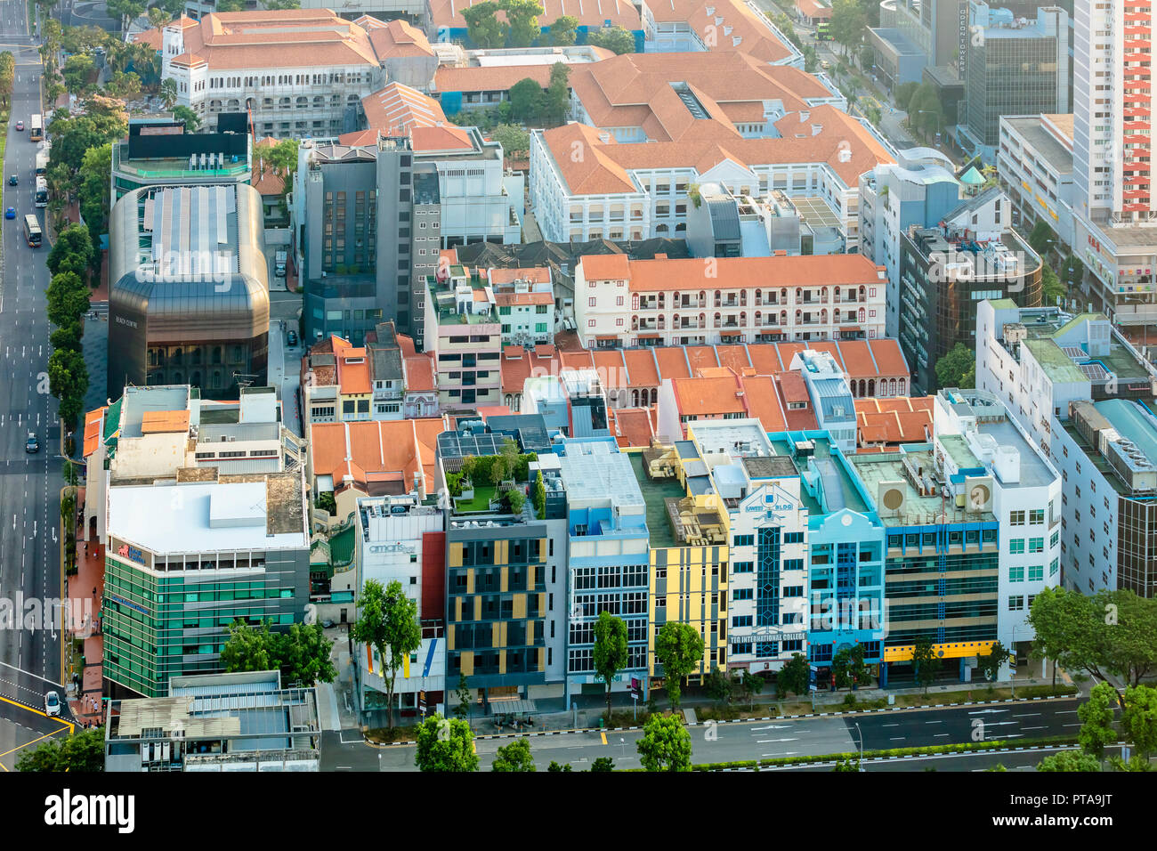 Singapore, August 18, 2018: Aerial view of Kampong Glam area shophouses, Arab Street - Stock Image