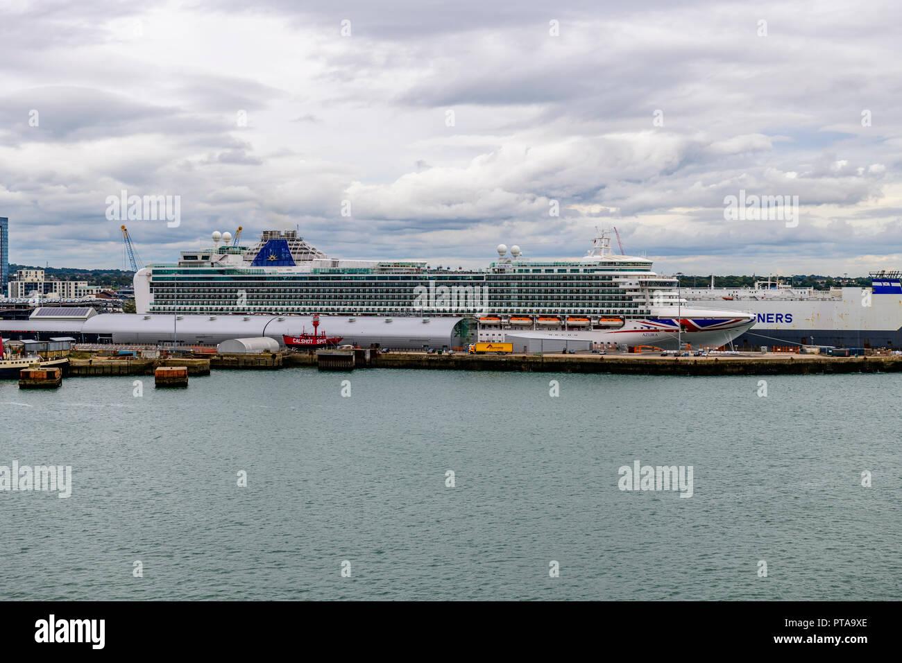 Carnival / P & O Azura Docked at Southampton - Stock Image