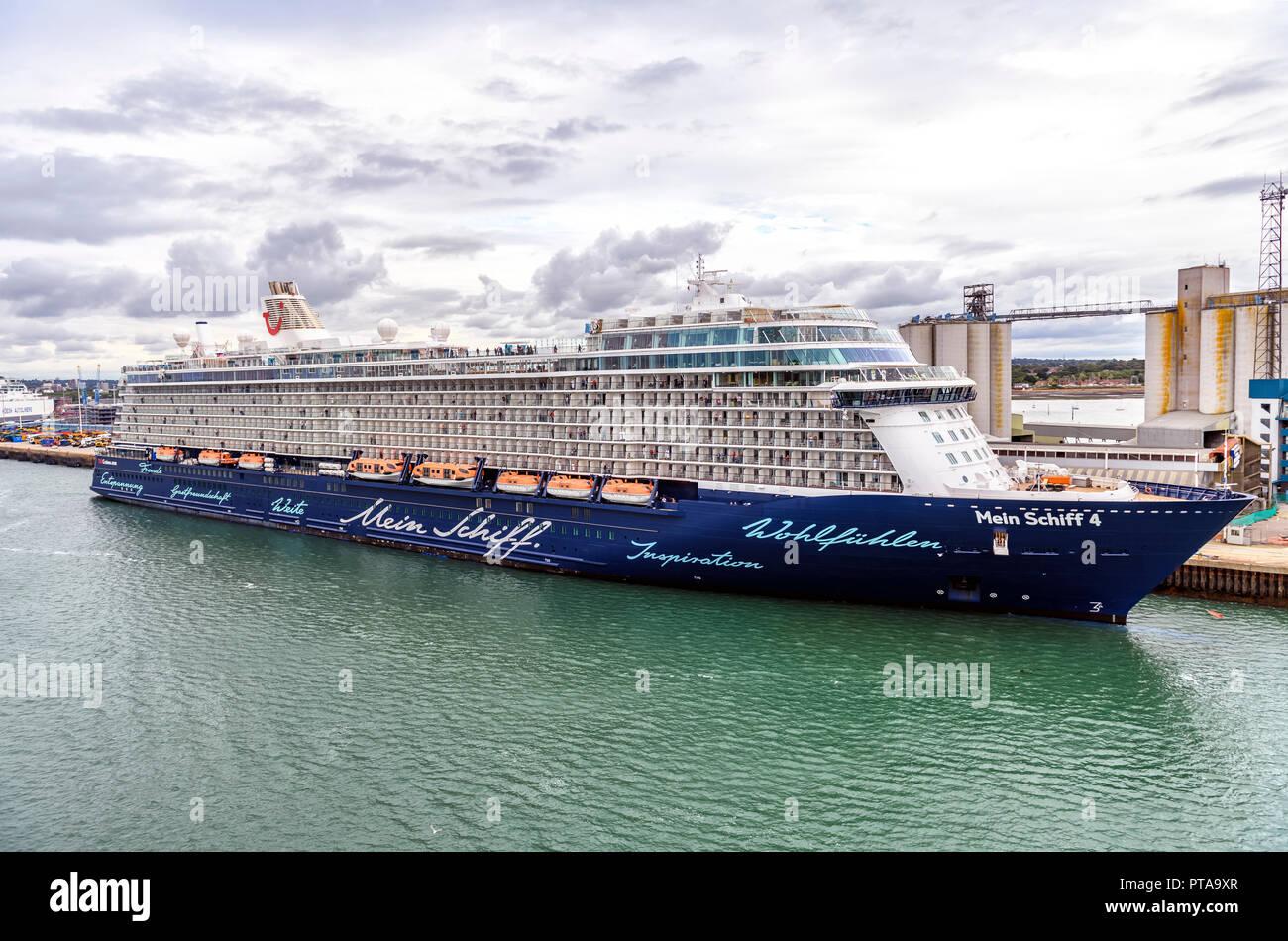 Mein Schiff 4, a TUI Thomson cruise ship docked at Southampton UK - Stock Image