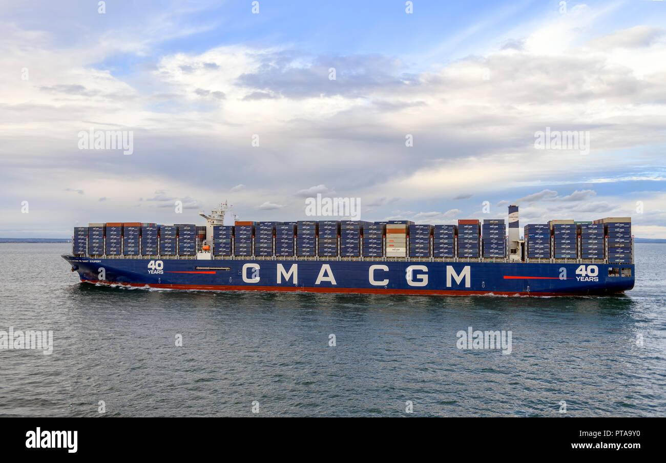 container cargo  ship CMA CGM antoine de saint exupery entering Southampton water / docks UK - Stock Image