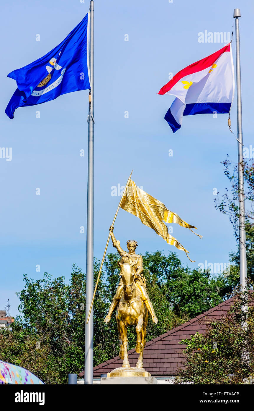 Joan of Arc is commemorated with a golden statue, Nov. 15, 2015, in New Orleans, Louisiana. The teenage martyr is revered for her role in saving a Fre - Stock Image