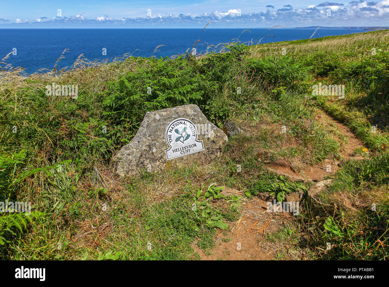 A National Trust Omega sign saying Hellesveor Cliff, near St. Ives, Cornwall, England, UK (photo taken from public footpath) Stock Photo