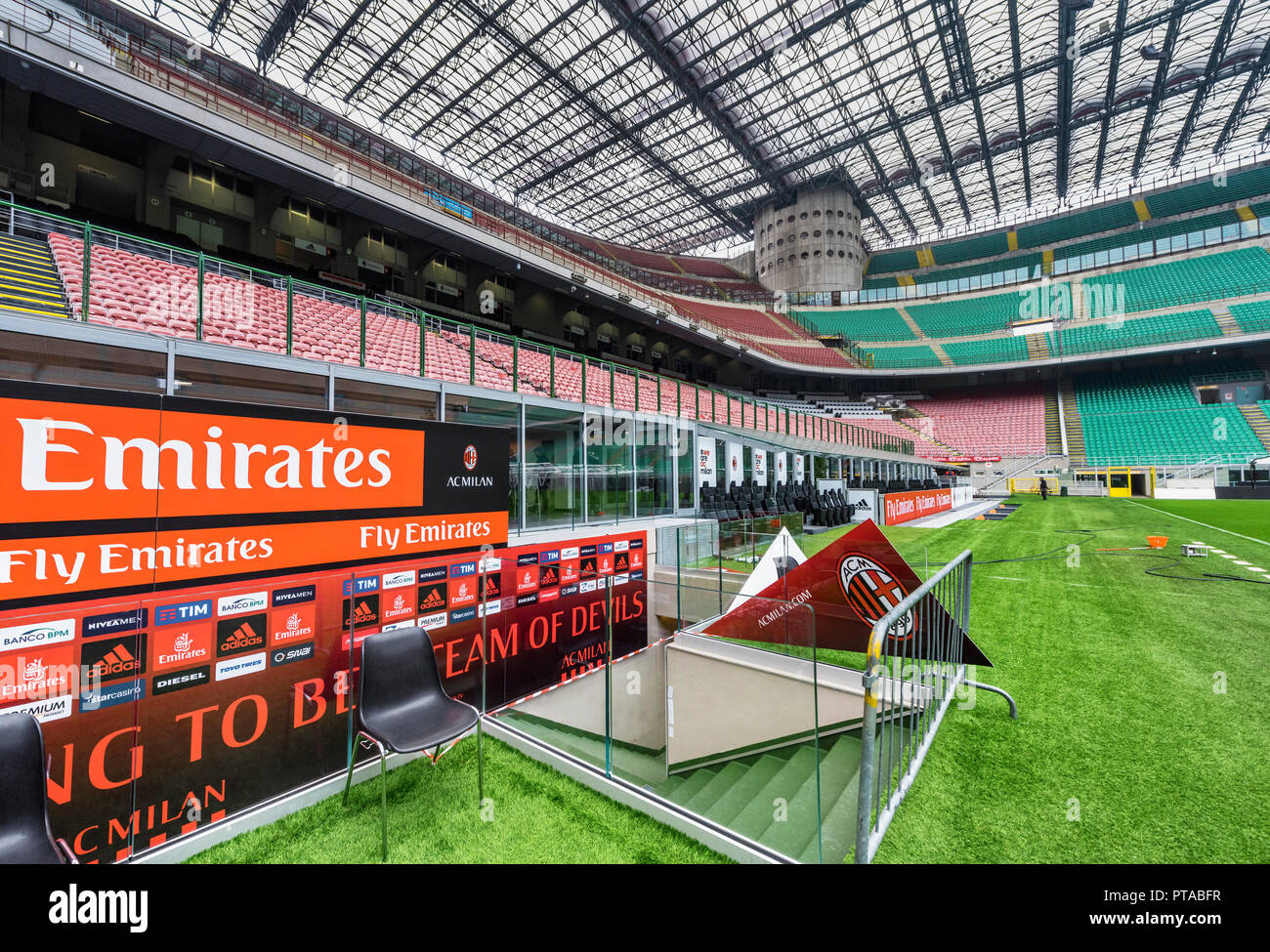 Tribunes at San Siro - the official playground of FC Milan and FC Inter Stock Photo
