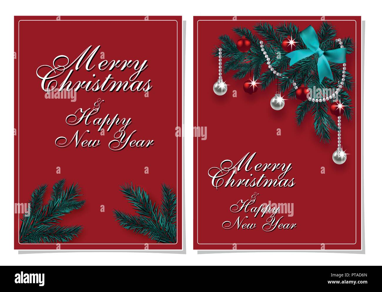 Merry Christmas And Happy New Year Greeting Card With Chrirstmas