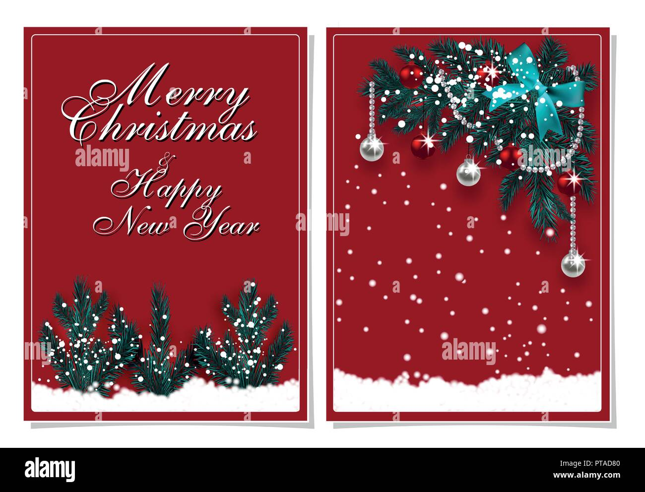 Merry Christmas And Happy New Year Greeting Card With Decorations
