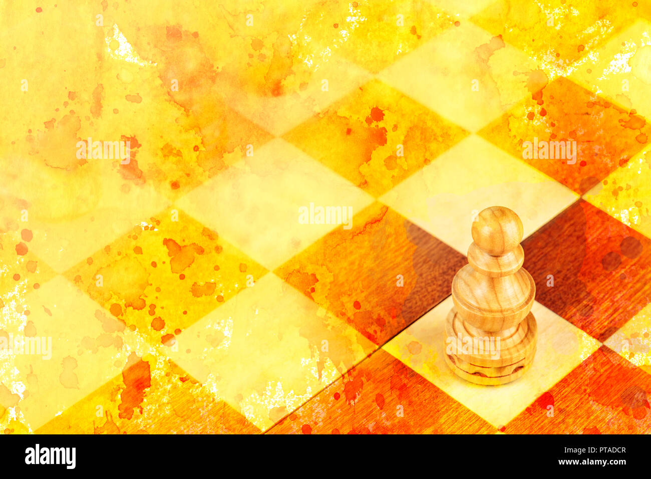 A pawn on a chessboard, a metaphor for the first step, with a golden texture - Stock Image