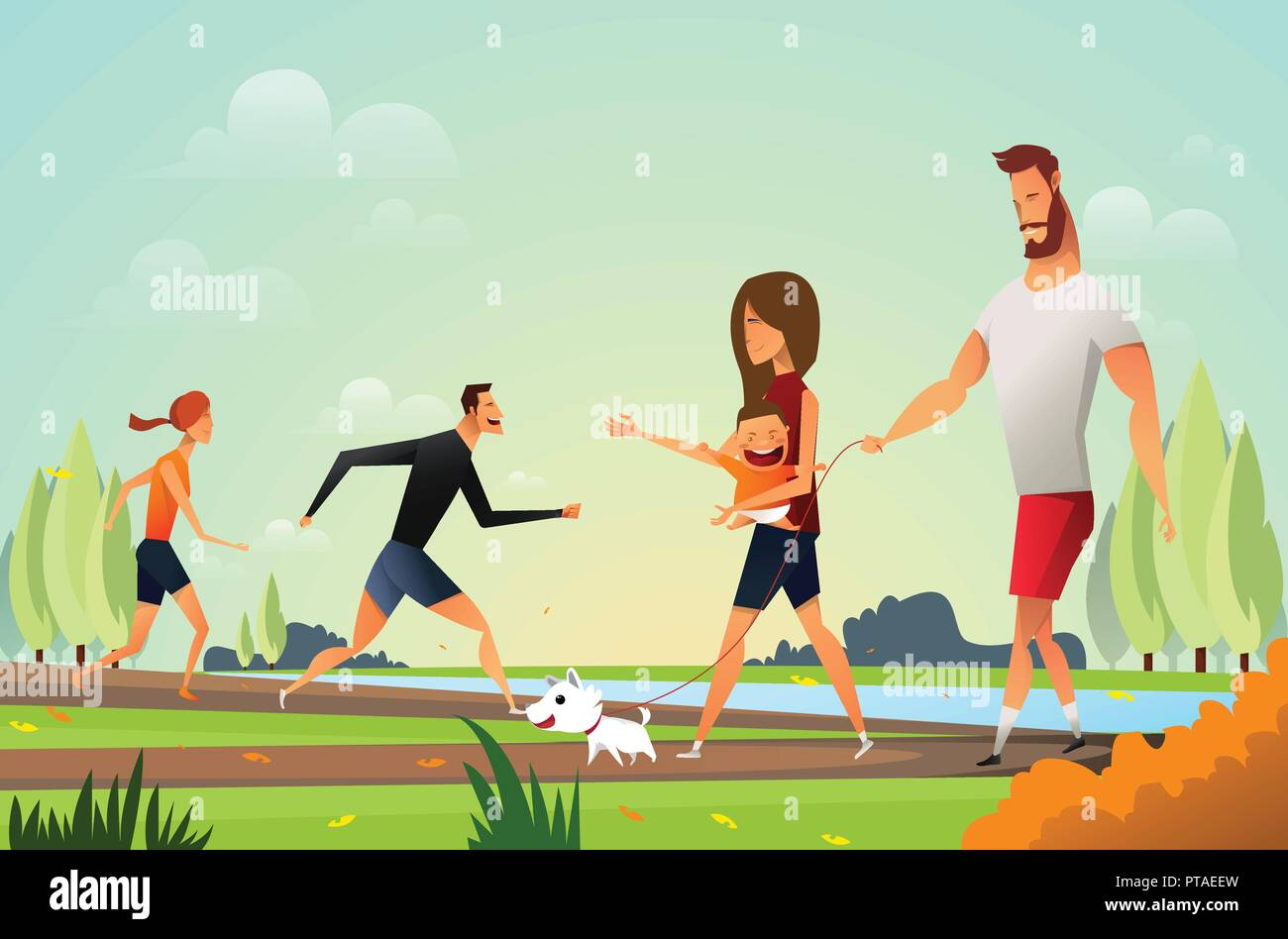 Happy young family with a little dog in park and young couple people walking. Father and moter in the park. Outdoor landscape. - Stock Vector