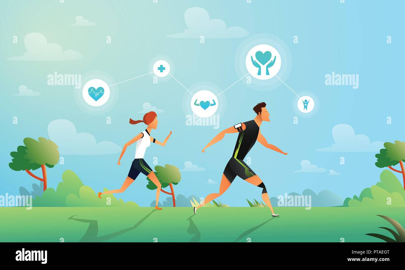 Vector illustration with running couple in flat style. Woman and man doing training in the park. Sport and healthy lifestyle illustration. Vector illustration in a flat style - Stock Vector