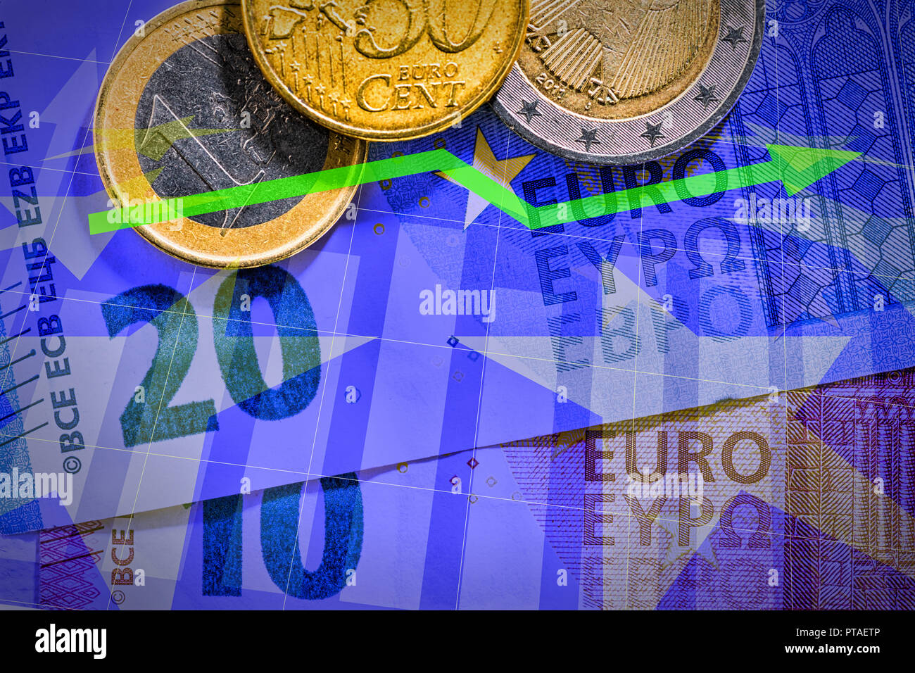 Euro notes and coins with diagram Stock Photo