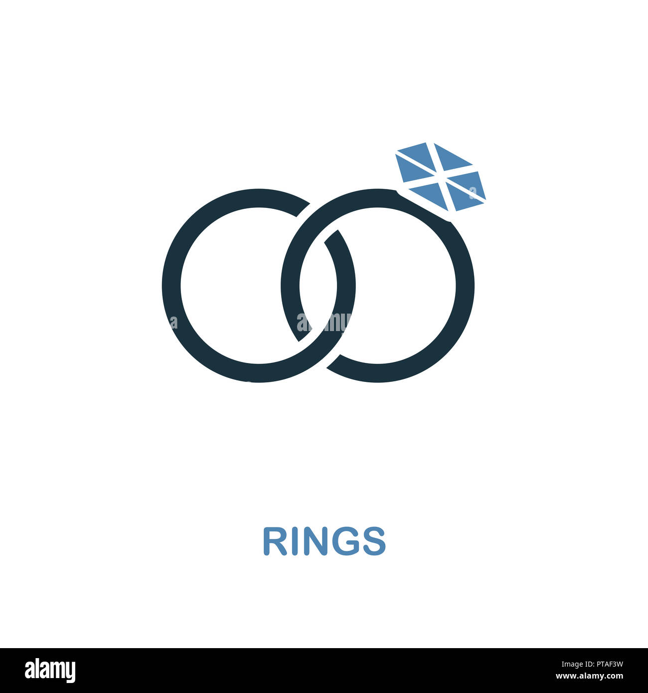 Rings icon in two color design. Simple element illustration. Rings creative icon from honeymoon collection. For web design, apps and printing. Stock Photo