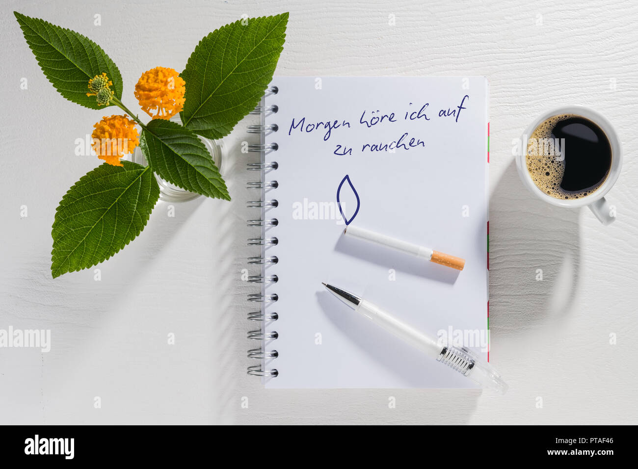 Writing pad with New Year's resolution with coffee cup, cigarette, ballpoint pen and flowers on a white table Stock Photo