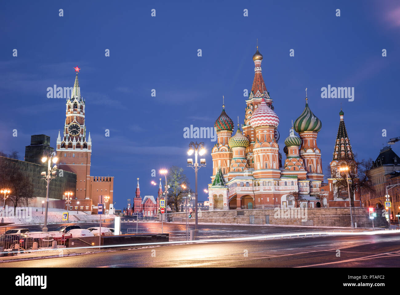 Cathedral of Vasily the Blessed and Spasskaya Tower. Winter Moscow before Christmas and New Year. Kremlin, Moscow, Russia. January 9, 2018 - Stock Image