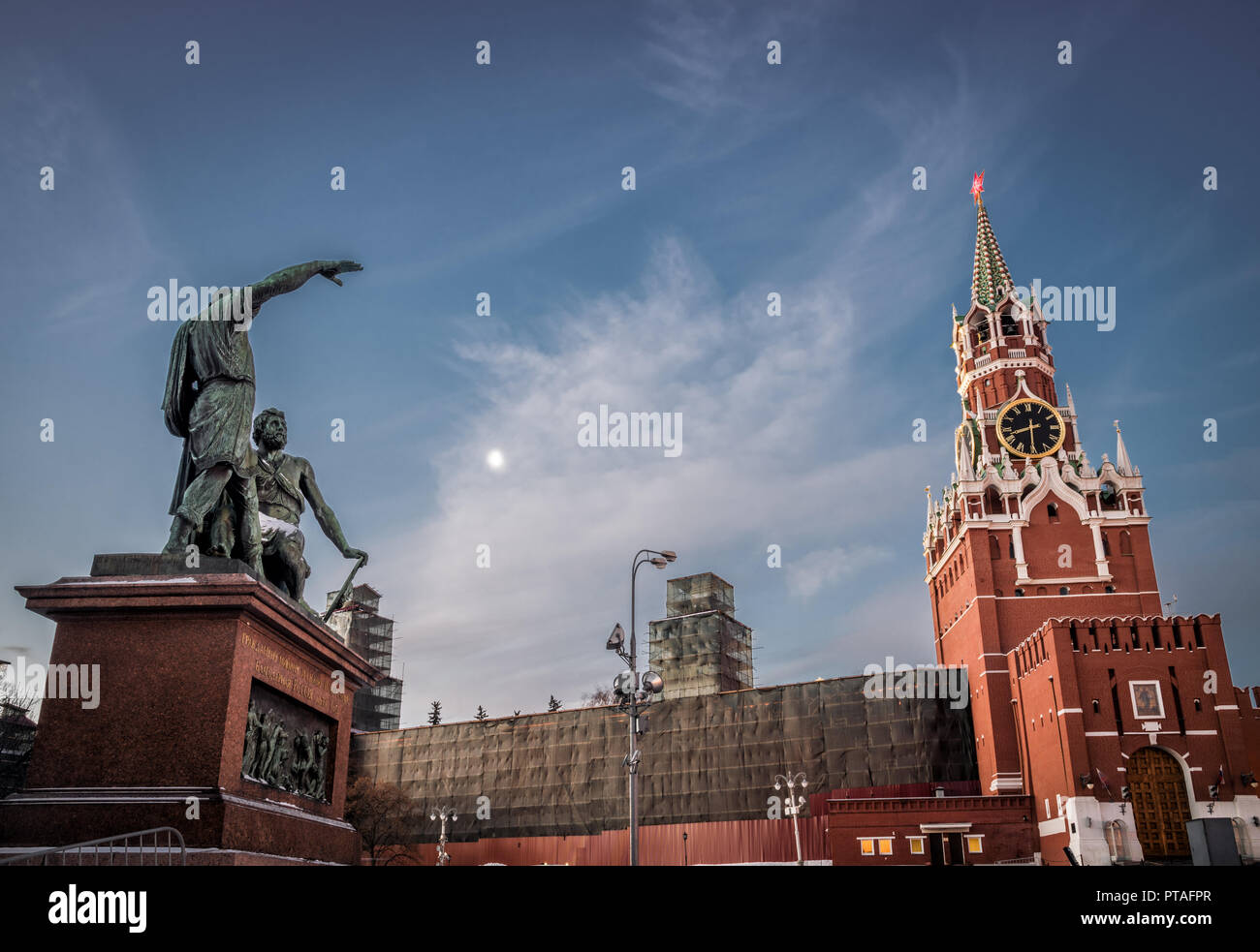 Monument to Minin and Pozharsky. Kremlin, Moscow, Russia. January 9, 2018 - Stock Image