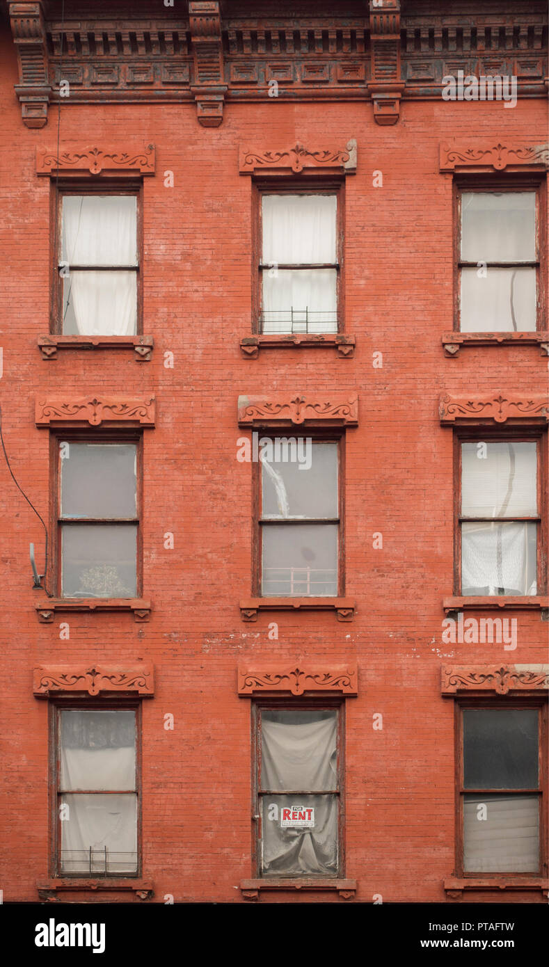 for rent sign in window Greenpoint Brooklyn - Stock Image