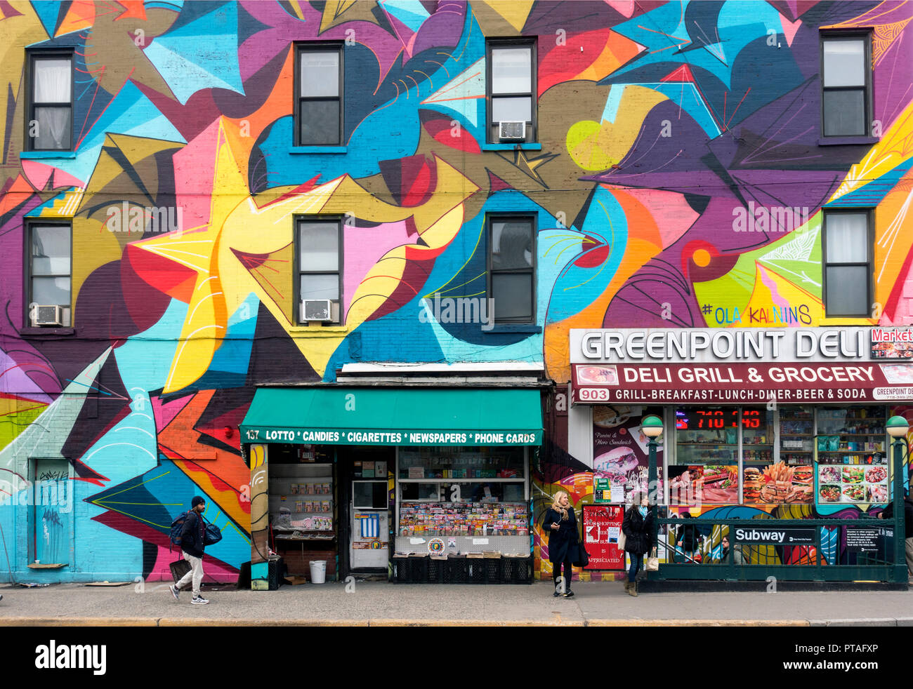 public mural Greenpoint Brooklyn NYC - Stock Image