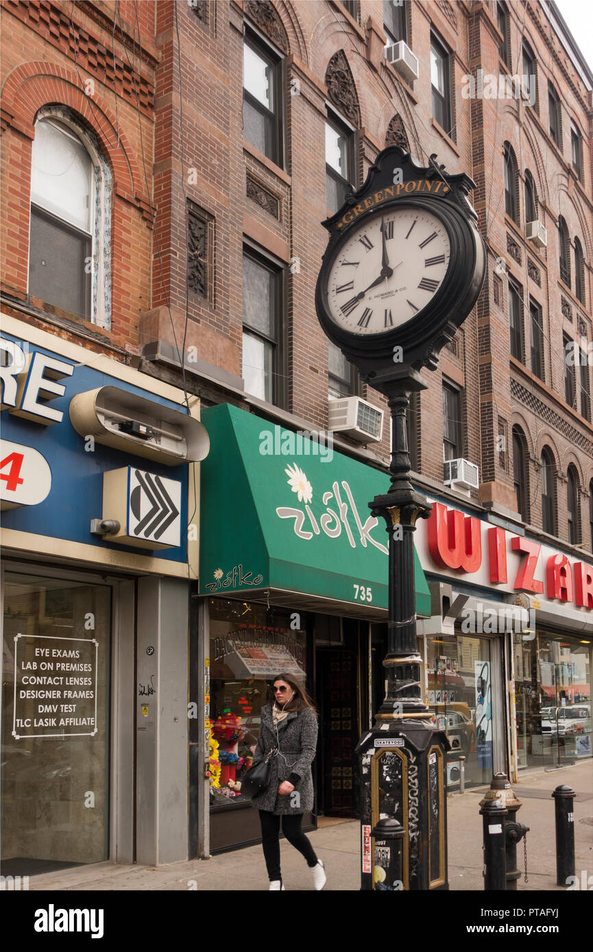 shopping district Greenpoint Brooklyn NYC - Stock Image