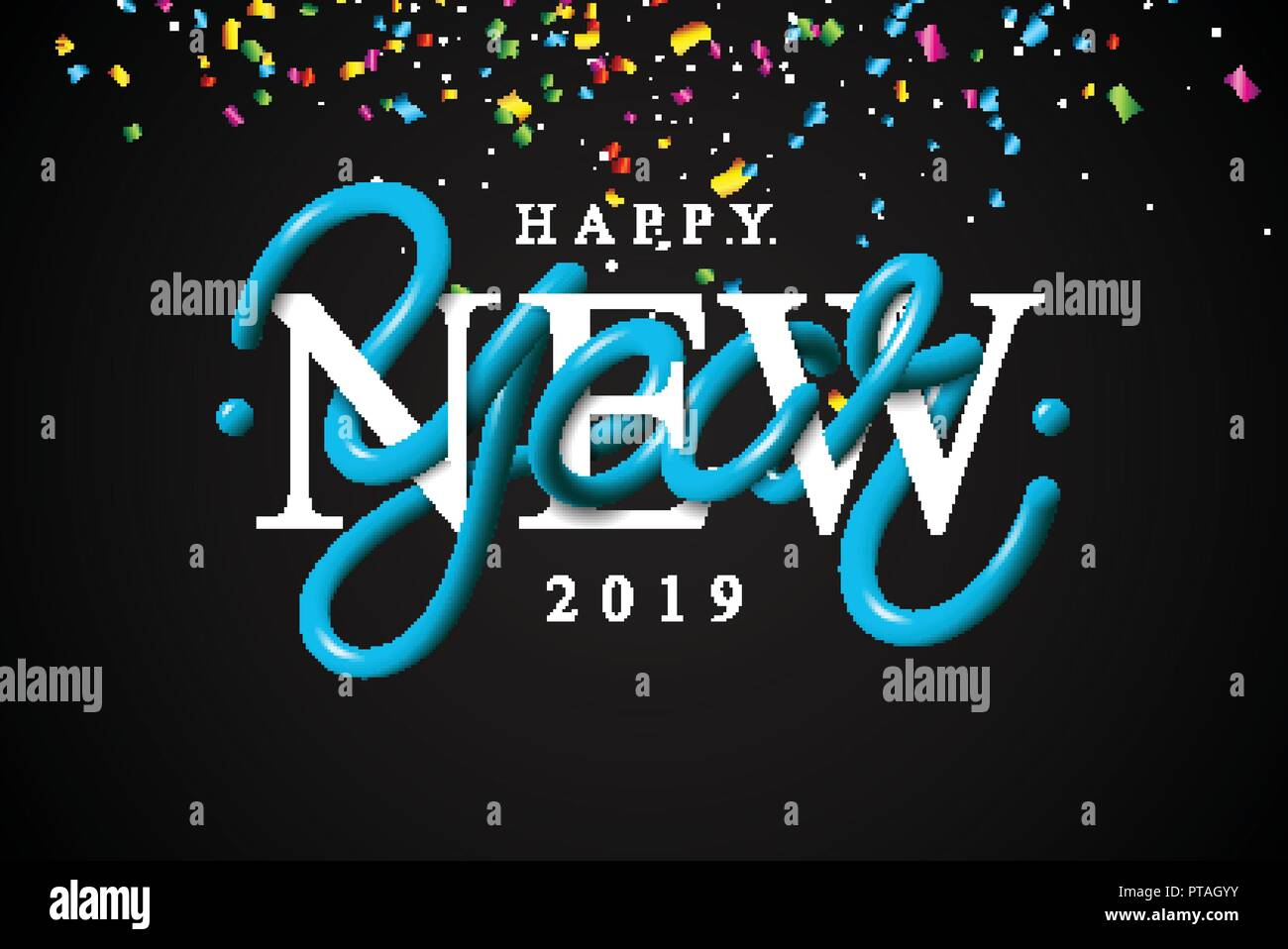 2019 happy new year illustration with 3d typographi lettering and falling confetti on black background holiday design for flyer greeting card banner