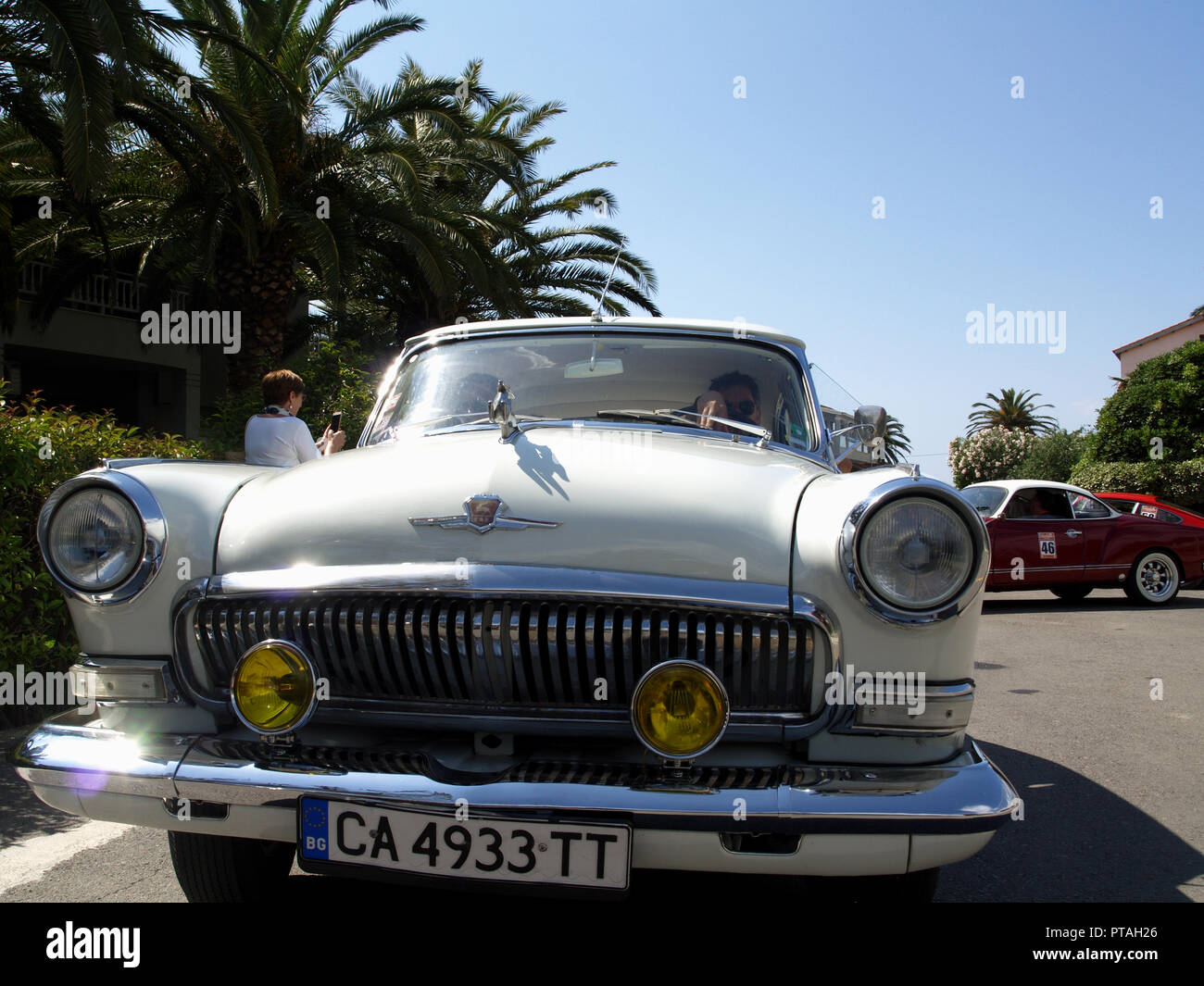 Vintage car on display at the 8th Hellenic Bulgarian LEKAM classic car rally at the Acharavi Park Hotel, Acharavi, Corfu, Greece - Stock Image