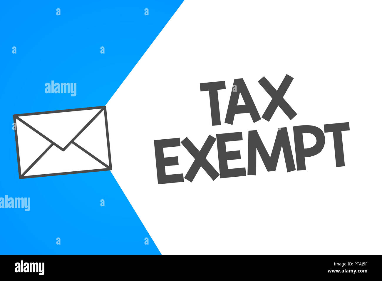 Handwriting text Tax Exempt. Concept meaning Income or transactions which are free from taxes Pay reduction. - Stock Image