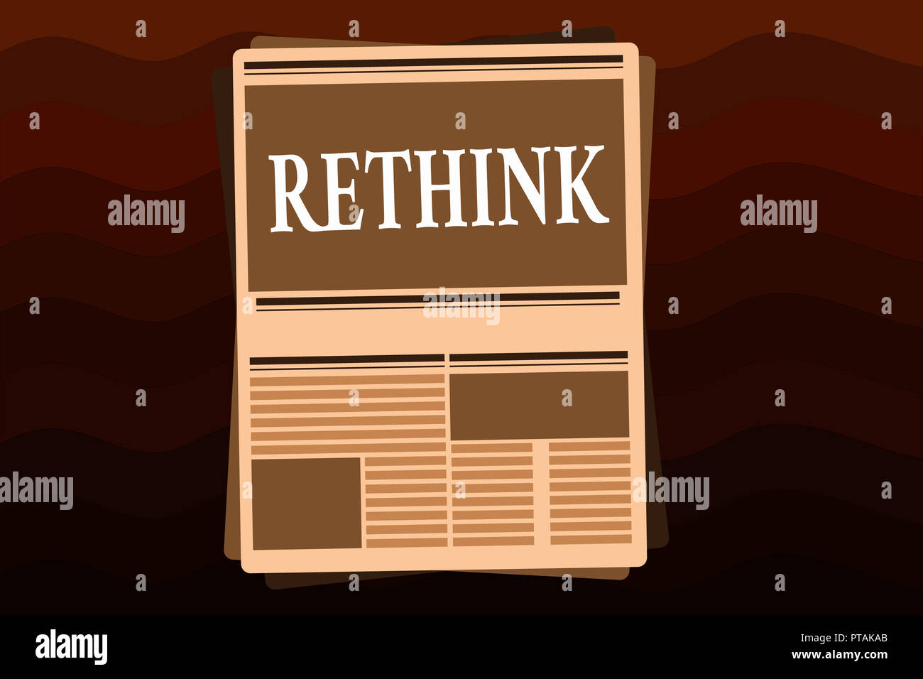 Handwriting text Rethink. Concept meaning Think again twice from another perspective Reconsider revise. - Stock Image
