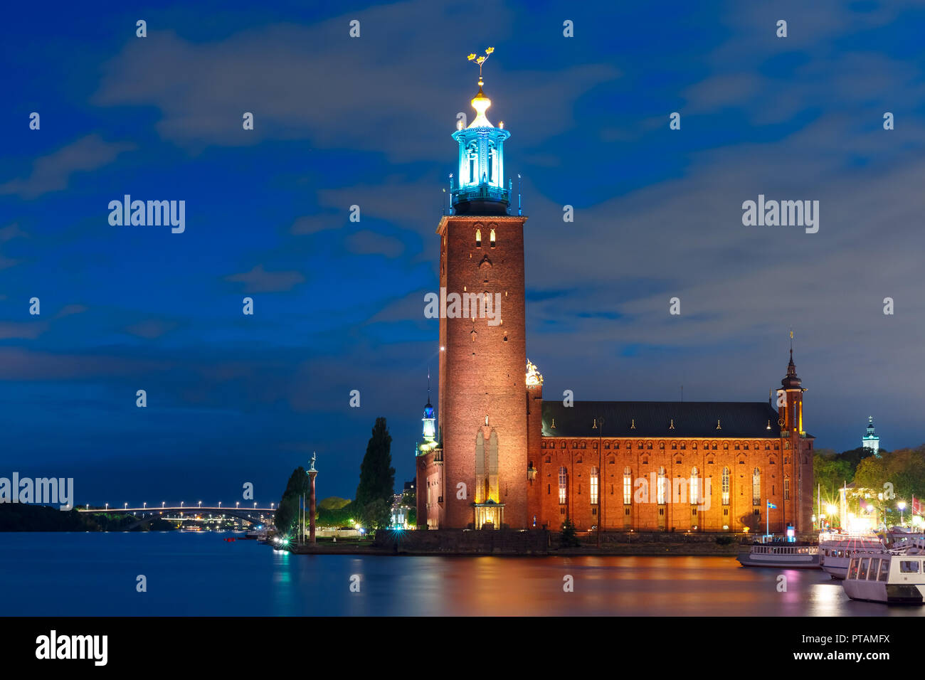 Stockholm City Hall at night, Stockholm, Sweden Stock Photo