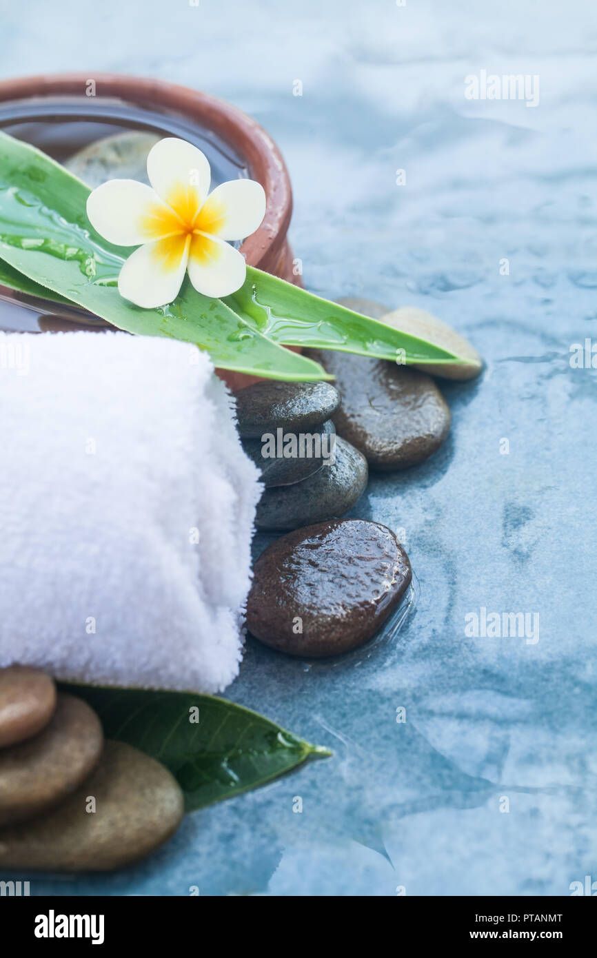 spa tropical flower and objects for healhty massage treatment on blue background. - Stock Image