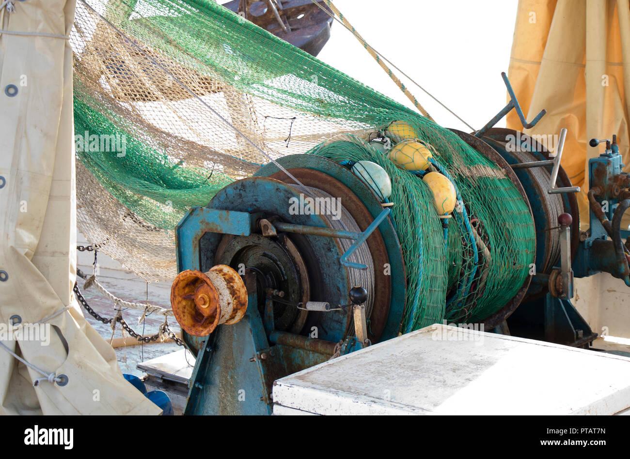 Capstan warp winch on a trawler fishing boat - Stock Image