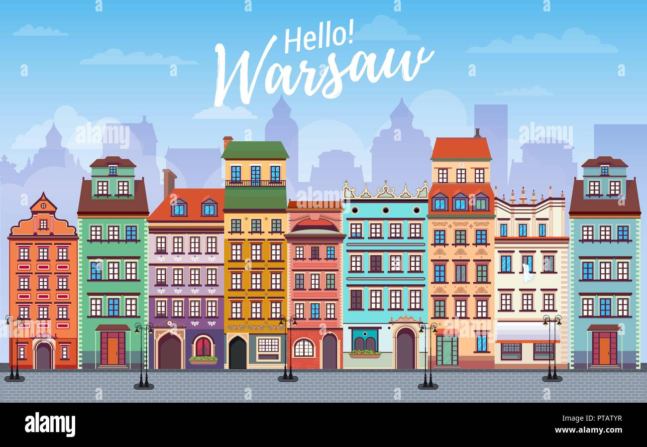 Warsaw cityscape banner in flat style. Europe panoramic city - Stock Vector