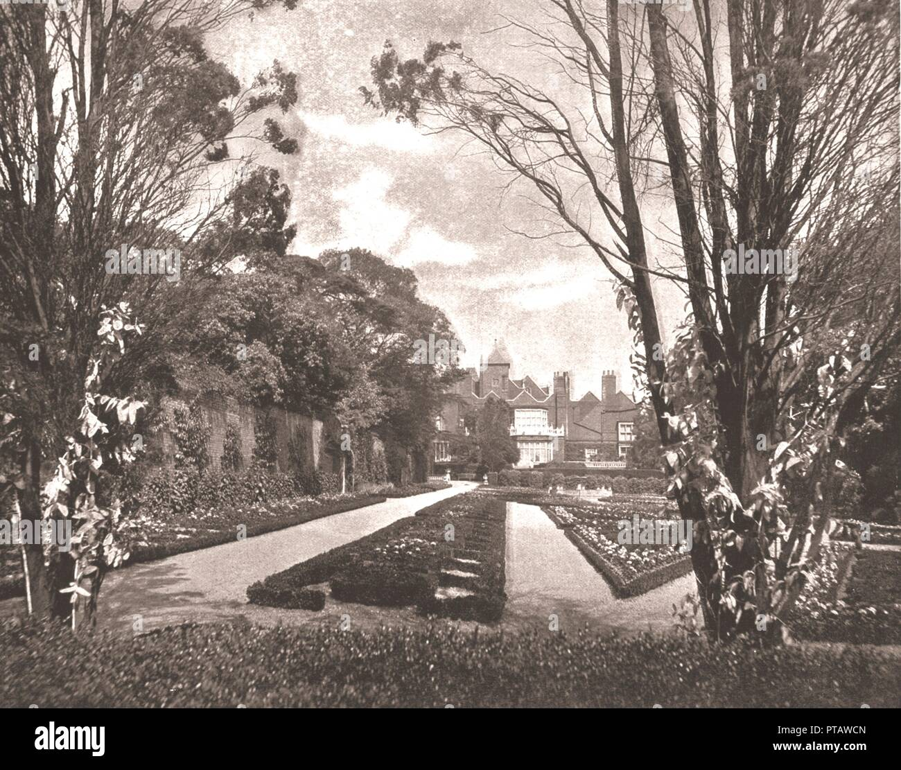 Holland House, Kensington, London, 1894. Jacobean mansion, built in 1606, held by the Earls of Holland and the Fox family, and the scene of salons and society parties. From Beautiful Britain; views of our stately homes. [The Werner Company of Chicago, 1894] - Stock Image