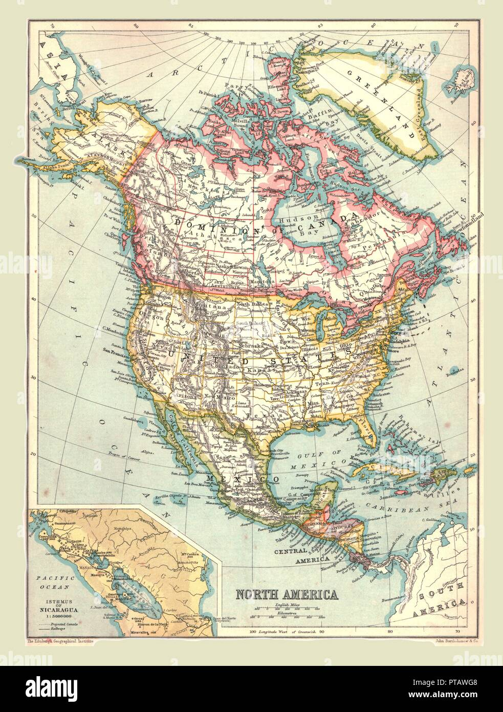 Map of North America, 1902. Showing the USA, Canada, Greenland ...