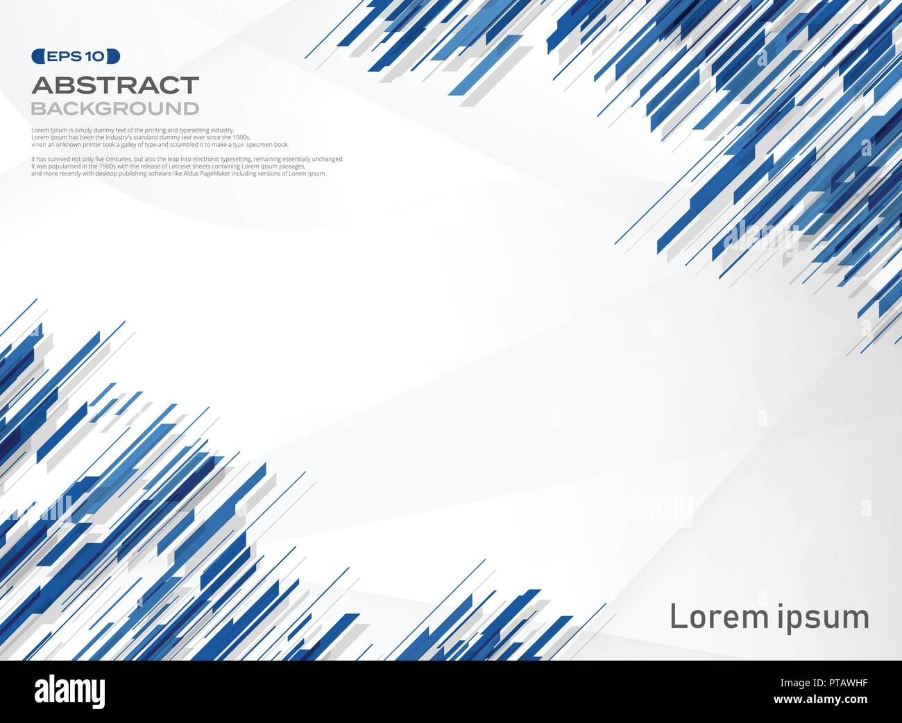 Abstract Of Blue Color Stripe Line Technology Background