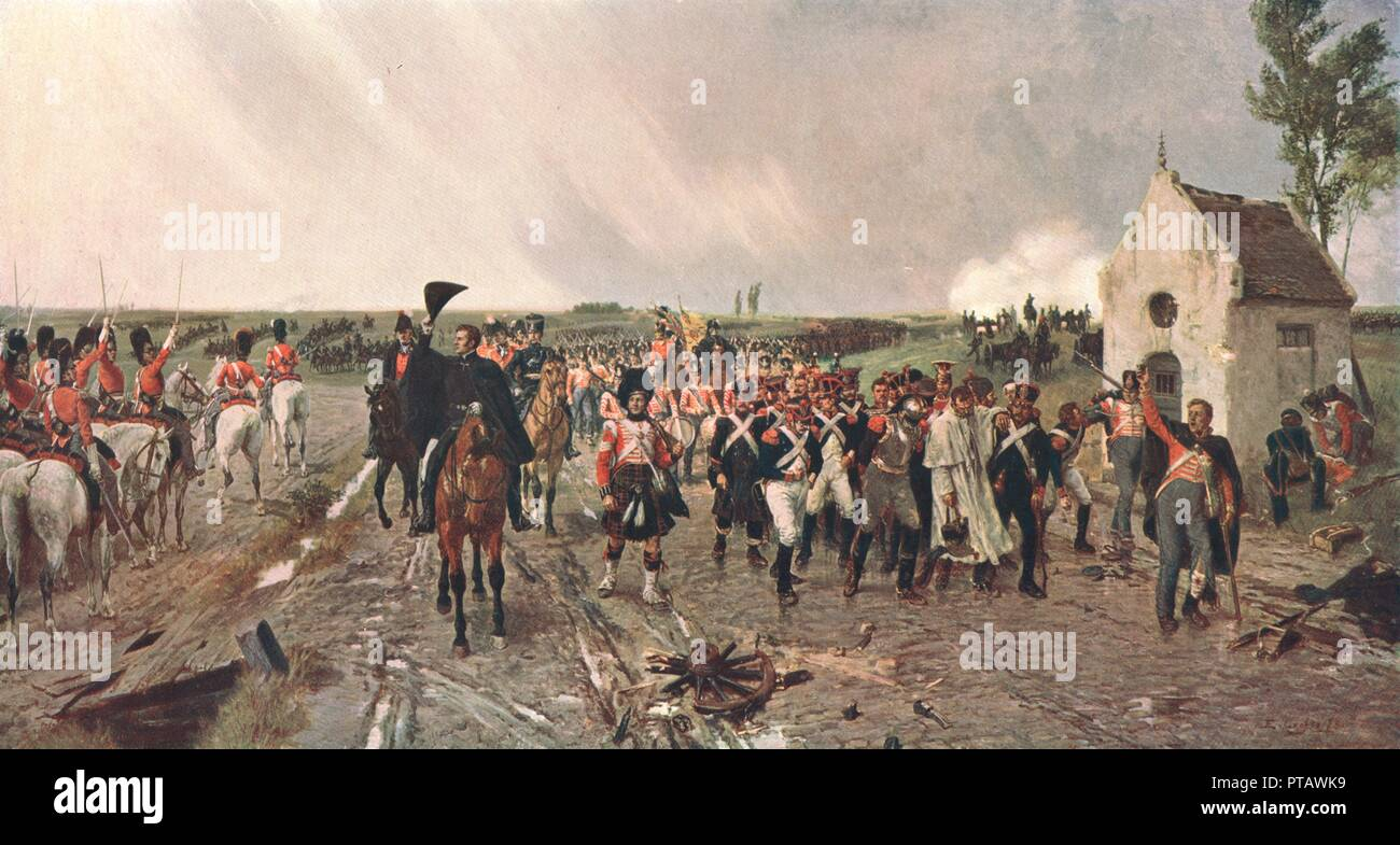 'Wellington's March from Quatre Bras to Waterloo', 1815, (c1878), (c1902). After a painting in the Museums Sheffield collection. The Duke of Wellington and his army march from the small village of Quatre Bras in Belgium, to Waterloo where he will defeat Napoleon's army in one of the most famous battles in British history. From The Nation's Pictures. A selection from the finest modern paintings in the public picture galleries of Great Britain, reproduced in colour. [Cassell and Company Ltd, London, c1902] - Stock Image