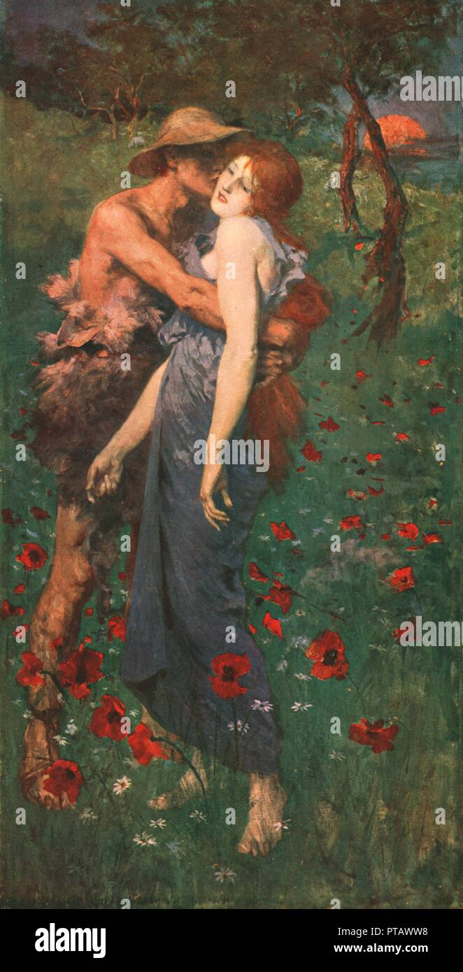 'An Idyll', 1891, (c1902). After a painting in the Walker Art Gallery, Liverpool. Man embracing a woman in a field of poppies. The woman appears passive, and although actively reciprocating her lover's embrace would have been shocking to Victorian viewers, her ambiguous expression and body language may make more modern viewers uncomfortable. From The Nation's Pictures. A selection from the finest modern paintings in the public picture galleries of Great Britain, reproduced in colour. [Cassell and Company Ltd, London, c1902] - Stock Image