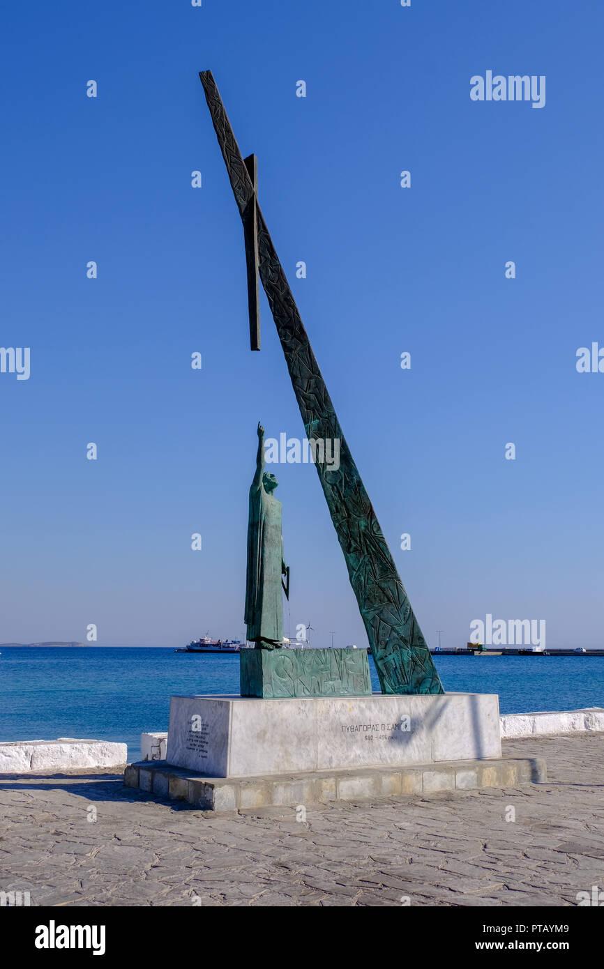 Statue of Pythagoras, Pythagorion, Samos Stock Photo