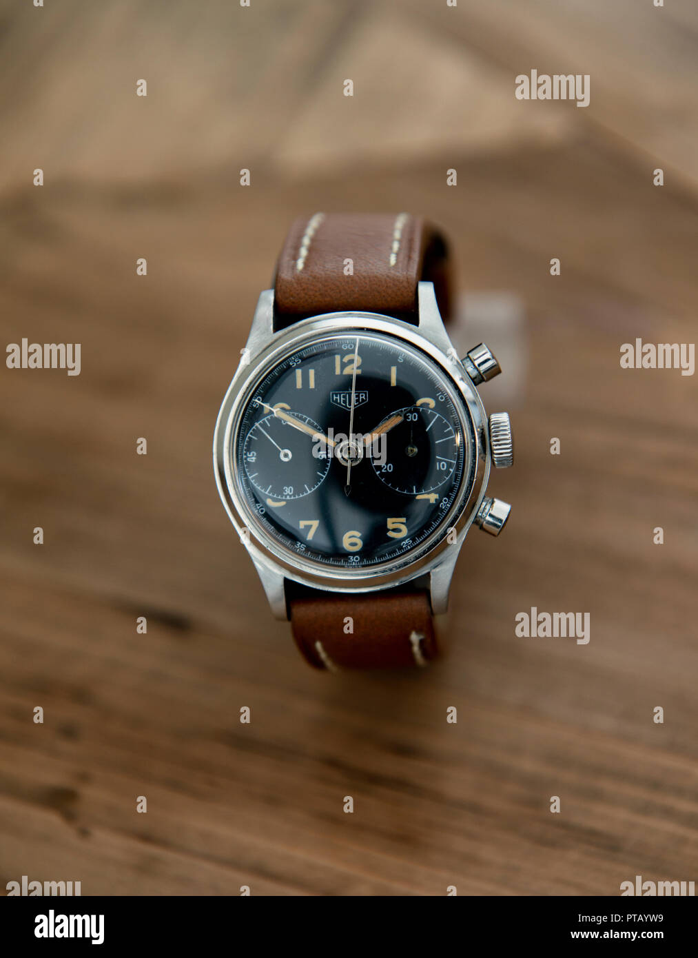 Rare 1940's military issued Here chronograph with black dial on a brown leather strap - Stock Image