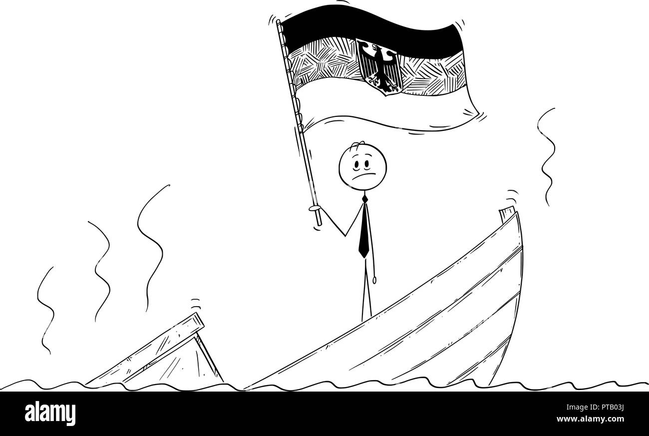 Cartoon of Politician Standing Depressed on Sinking Boat Waving the Flag of Federal Republic of Germany - Stock Vector