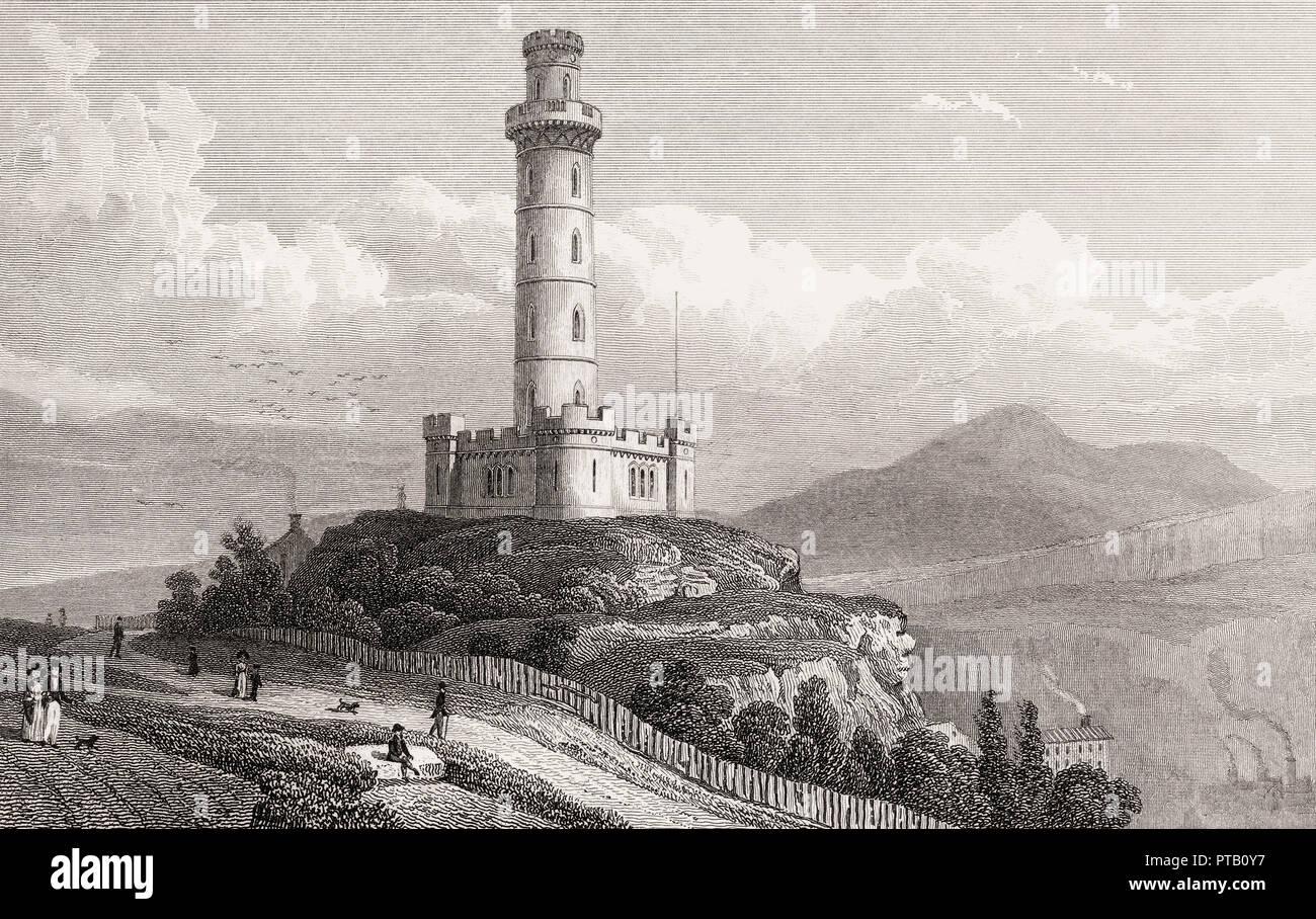 Nelson's Monument, Calton Hill, Edinburgh, Scotland, 19th century, from Modern Athens by Th. H. Shepherd Stock Photo