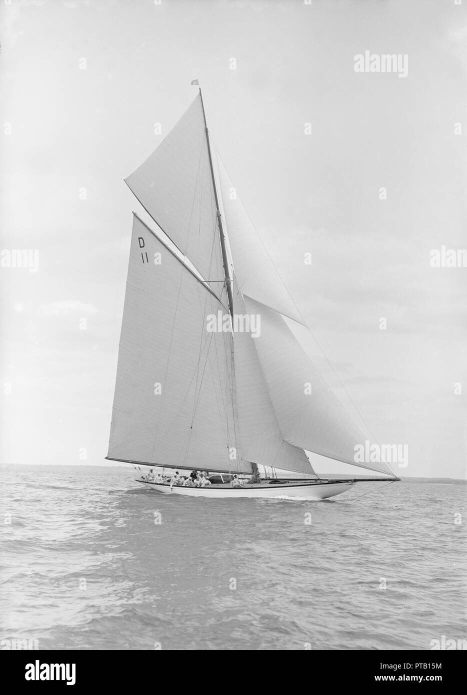 The 15-metre class 'Maudrey' sailing close-hauled, 1913. Creator: Kirk & Sons of Cowes. Stock Photo