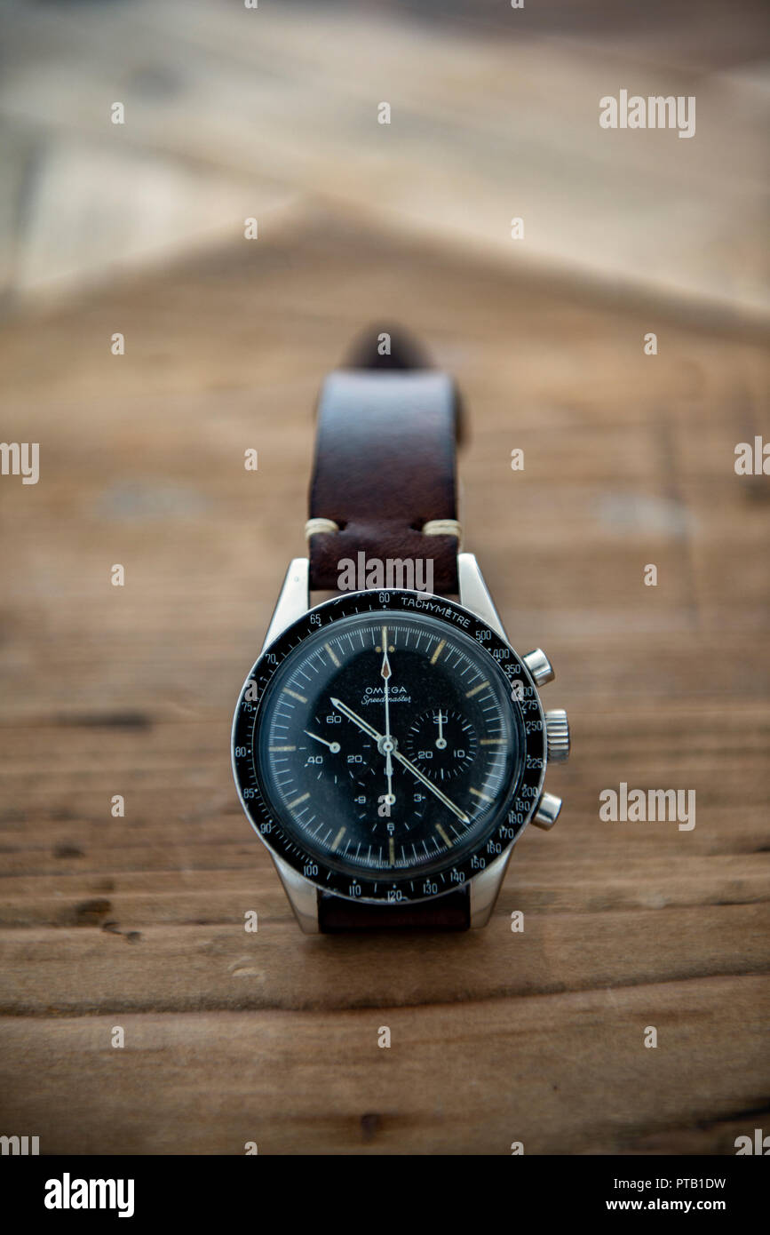 1965 Omega Speedmaster chronograph ref.ST105.003 known as Ed White after the astronaut who did the first American space walk - Stock Image