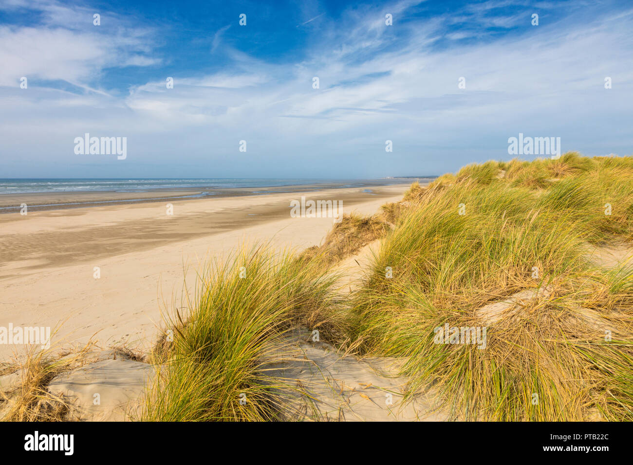 North Sea beach and dunes at Le Touquet-Paris Plage, France - Stock Image